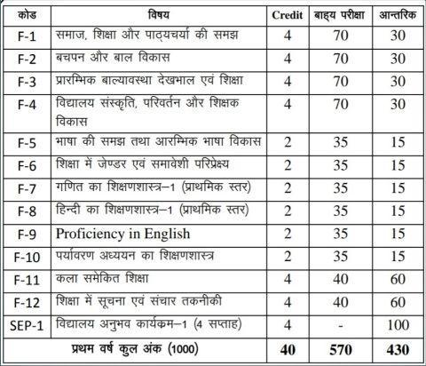 Bihar deled 1st year syllabus in hindi
