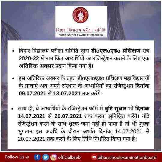 Bihar DElEd Registration Date