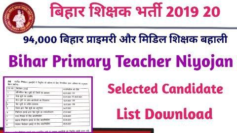 Bihar Primary Teacher Niyojan Selected Candidate list after counselling 2021
