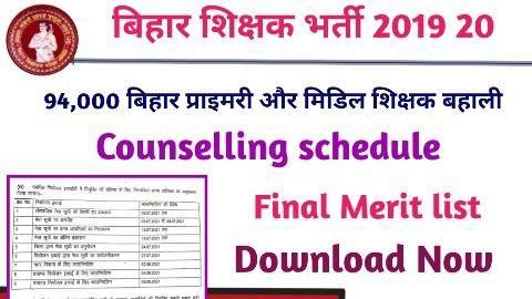 Bihar Teacher Niyojan Merit List 2019-20 All District Wise Class 1 to 5 & 6 to 8