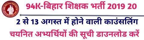 Bihar Primary Teacher Niyojan Selected Candidate